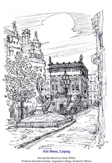 Alte Boerse 1975 Pen and Ink by Erin Weber.  Used with permission.